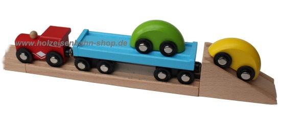no name Autotransportzug Autoverladung passen zu Holzeisenbahn von zB Brio, Heros, Eichhorn, Ikea, Bino, Thomas usw.