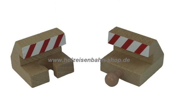 Holzeisenbahn-Prellbock-Paar Endschienen, Schienenabschlußpuffer