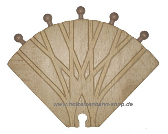 fünf-Wege Weiche für die Holzeisenbahn, 5er-Weichenschiene für Holzbahnen, 5fach-Weiche