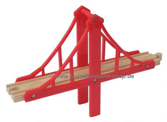 no name günstiges Holzeisenbahnzubehör: Hängebrücke rot