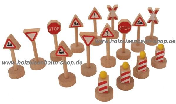 baustellenschilder Holzspielzeug, Baustellenset Holzeisenbahn passend zu Brio, auch zu Lego und Playmobil