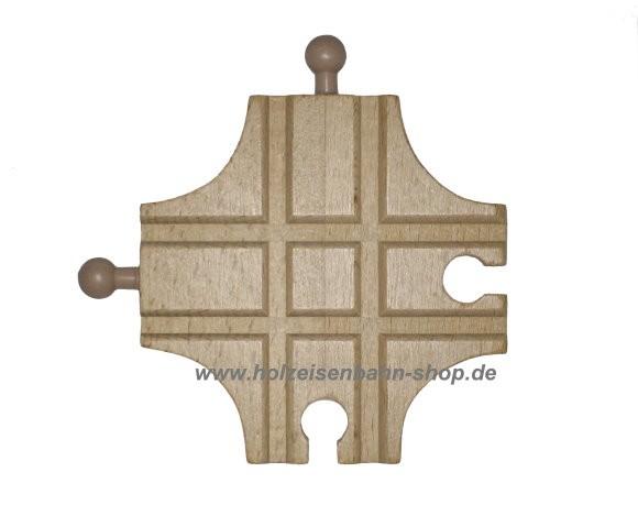 kleine Kreuzungsschiene für Holzeisenbahn, Kreuzung aus einem Stück Holz